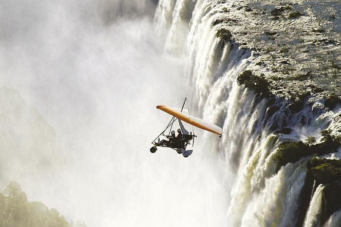 Microlighting over Victoria Falls on Zambian side